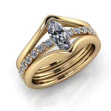 gold ring with marquis diamond